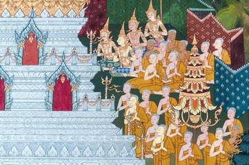 Thai Mural Painting on the wall, Wat Pho, Bangkok,