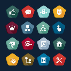 SEO and Development icon set in flat vector