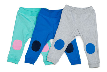 Three colored Cotton baby pants.