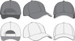 Baseball cap, front, back and side view. Vector illustration - 68400730