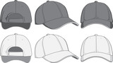 Baseball cap, front, back and side view. Vector illustration