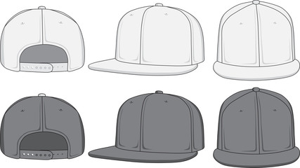 Rap cap, front, back and side view. Vector illustration