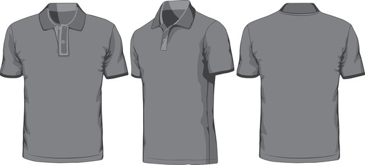 Views of blank polo-shirt. Vector illustration
