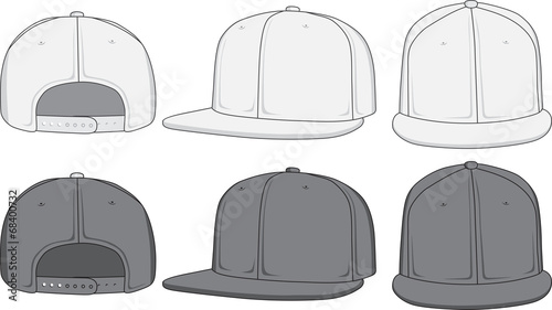 Rap cap, front, back and side view. Vector illustration - 68400732
