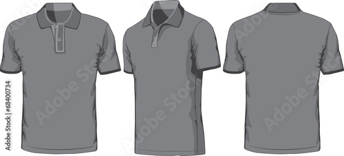 Views of blank polo-shirt. Vector illustration - 68400734