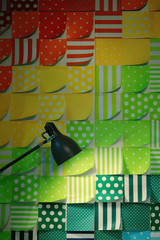 Table lamp on colorful background