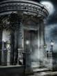 Gotyckie mauzoleum w świetle księżyca