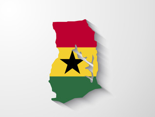 Ghana country map with shadow effect presentation