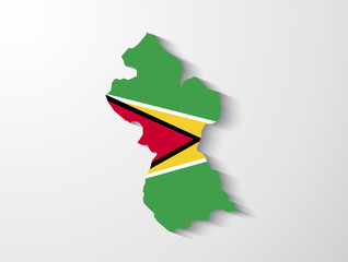Guyana  country map with shadow effect presentation