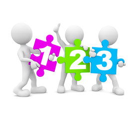 White Cartoon Holding 3D Number