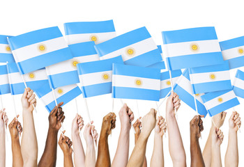 Hands holding Argentinia Flag