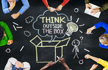 Group of People with Think Outside the Box Concept