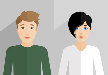 Flat vector illustration of woman's and man's face close up.