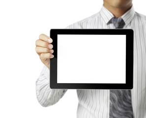 hands holding a tablet touch computer