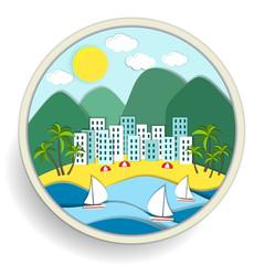 Badge depicting holidays at the sea