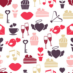 Wedding and Valentines Day seamless pattern