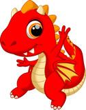 Cute baby dragon dancing cartoon