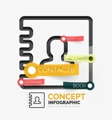 Contacts book vector infographics, line style