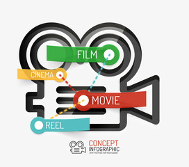 Cinema and movie infographic concept, line style