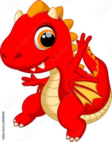 Cute baby dragon dancing cartoon - 68405168