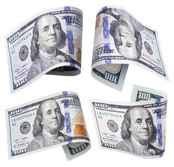 Set of flying hundred dollar banknotes isolated on white