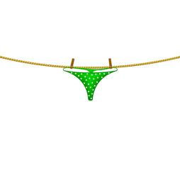 Women's panties hanging on rope