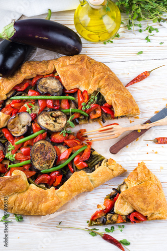 canvas print picture Eggplant pie with peppers and beans