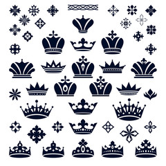 set of crowns and decorative elements