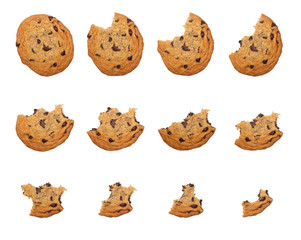 Sequence of bites taken off a cookie isolated