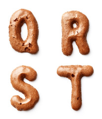 Letters made of caramel cookies