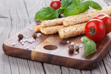 Italian grissini bread sticks
