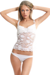 Young pretty  woman in white lingerie