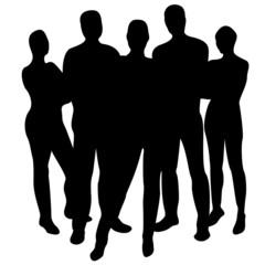 5 person silhouette