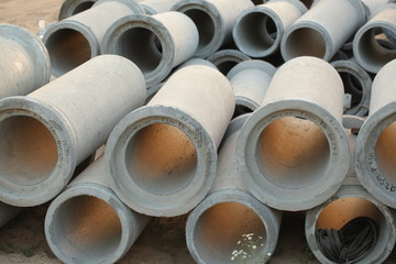 concrete pipes on site
