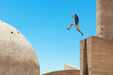 risky man jumping