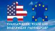 canvas print picture - Grafik Flaggen Freihandelsabkommen mit Text - 16 zu 9 - g922