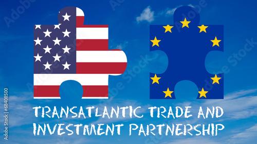 canvas print picture Grafik Flaggen Freihandelsabkommen mit Text - 16 zu 9 - g922