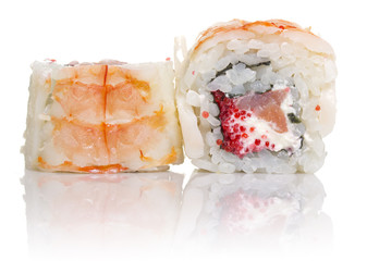 Sushi roll with crab isolated