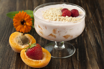 Cream cheese with strawberries and apricots  .