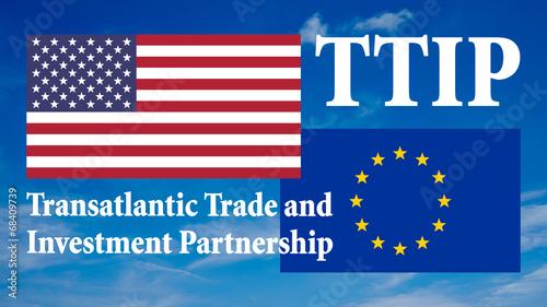 canvas print picture Banner Flaggen - USA und Europa - 16 zu 9 - g924