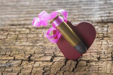 Bala con dedicatoria al corazón adornada para regalo