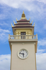 Thai style clock tower at Chiangmai train station , Thailand