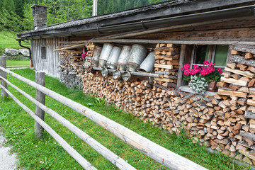 old milk cans in a alpine hut