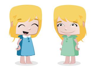 Happy little twins