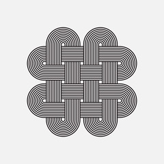 Twisted lines, vector element, isolated object