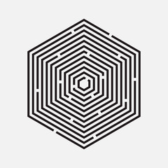 Maze, hexagon, vector illustration