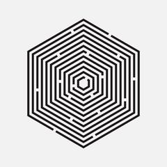 Maze, hexagon, vector illustration