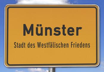 Ortsschild Münster, Stadt des Westfälischen Friedens