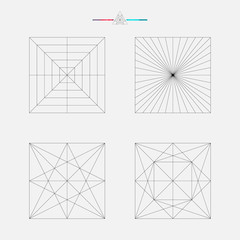 Set of geometric elements, line design, square pattern
