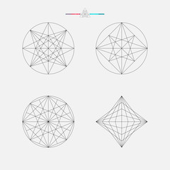 Geometric drawing, circle design, vector illustration